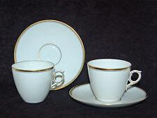 ELEGANT ROYAL COPENHAGEN WHITE PORCELAIN, GOLD TRIM THIN LINE CUPS/SAUCERS - TWO