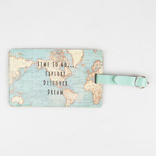 Vintage World Map Duck Egg Blue Luggage / Travel Tag by Sass and Belle * Gift
