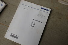 WACKER G50 G70 G85 GENERATOR Owner Operator Operation Manual Book User Safety
