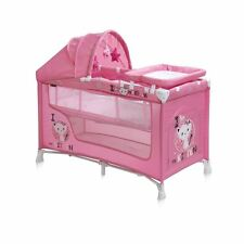 New Baby Nanny Travel Cot Bed 2 Layers Play Pen Yard Child Infant Pink Girl Kids