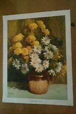 Daisy Flowers Bouquet in Copper Lithograph on Canvas Rudolph Colao 12 x 16
