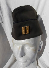 WW 2 US AAF Officers Green  Garrison Hat with WW 2 Pin Back Captain Rank, Named