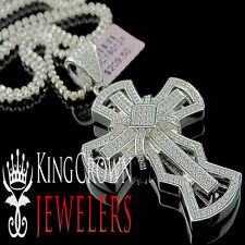 Mens Ladies White Gold Sterling Silver Lab Diamond Jesus Cross Pendant + Chain