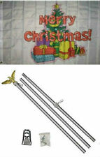 3x5 Merry Christmas Tree Gifts Presents Flag Aluminum Pole Kit Set 3'x5'