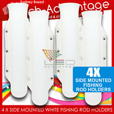 4 X WHITE BOAT FLUTED STREAM LINE SIDE MOUNTED VERTICAL FISHING ROD HOLDERS