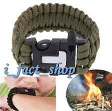 Green Bracelet Outdoor Survival Equipment Flint Fire Starter Scraper Whistle UK