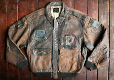 VTG '87 AVIREX USAAF TYPE A-2 FADED LEATHER PATCHED FLIGHT BOMBER JACKET LARGE