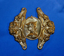 Antique Victorian Brass Relief Plaque of Athena & Lilies w/4 holes for mounting