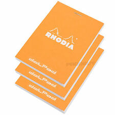 Set of 3 Rhodia Orange A7 dotPad Dot Matrix Grid Note Book Pads Graphic Design