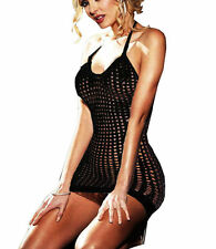 BLACK HALTER SEXY STRETCHY SEE THROUGH FISHNET STRIPPER MINI DRESS ONE SIZE