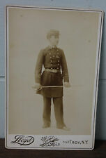 Antique Cabinet Card Civil War Soldier In GAR Uniform With Sword Lloyd's Troy NY
