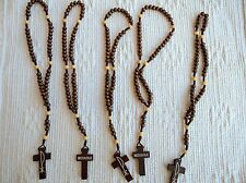 Medjugorje Brown wood rosary for children or car LOT/ SET of 5 pieces 11''
