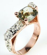 SALE! SIZE 8 Ring New Artisan Green Amethyst 925 Sterling Silver Rose Gold Ring