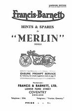 1946-1949 Francis Barnett Merlin 51 hints & parts book