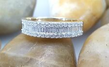 Diamond Wedding Band 0.55Ct Baguette and Round 14k Yellow Gold Anniversary Ring