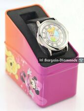 Disney Tinkerbell ladies teen licensed silver watch collector box black strap