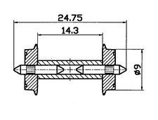 Roco H0 40191 DC Norm-Radsatz mit geteilter Achse 9 mm (1 Stück) NEU