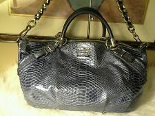 COACH Madison Sophia Python Embossed Large Satchel Bag 16346 Metallic Denim GUC