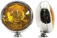 Vintage Flat Back Style Fog Light Chrome Housing w/t Amber Lens