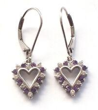 Beautiful 925 Solid Sterling Silver Heart Drop Purple White Gem Stones Ear Rings