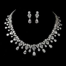 Bridemaid Antique Silver Clear CZ Crystal Necklace & Earrings