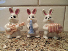 Vintage Rabbit Bunny Music Band Ceramic Pottery Statues Animal Figurines