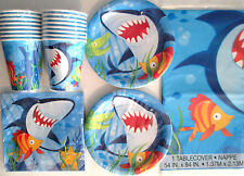 SHARK FIN FRIENDS -  Birthday Party Supply Set Pack Kit for 16 w/ Invitations