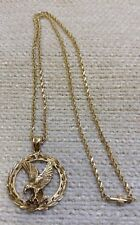 "10Kt Solid Gold 20"" Chain w/ Eagle Pendant 13.85 Grams 160911"