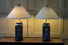 Pair Chinese Blue & White GINGER JAR LAMPS