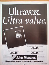 ULTRAVOX Lament (John Menzies) UK magazine ADVERT / mini Poster 11x8""