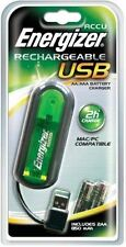 ENERGIZER AA AAA USB BATTERY CHARGER +4 AA 2000Mah NiMH RECHARGEABLE BATTERIES
