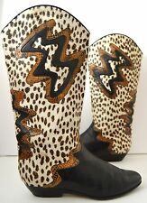 DONNA CAROLINA Damen Stiefel Fell Leoprint italy 80s True Vintage 80er fur BOOTS