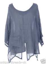 CUT SLASH LAGENLOOK QUIRKY LINEN POCKET TOP LAYERING BOHO ONE SIZE 12-22 - DENIM