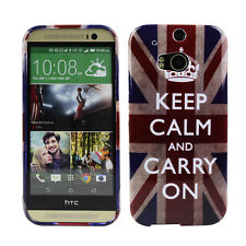 Custodia in TPU per HTC One m8 Custodia Protettiva Custodia Cover KEEP CALM and CARRY ON ENGLAND UK