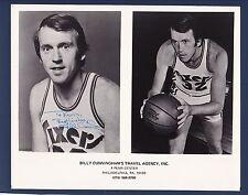 Billy Cunningham signed Philadelphia 76er's basketball advertisement photo