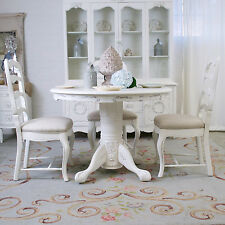 Shabby Cottage Chic Pedestal Round Dining Table White French Vintage Style Roses