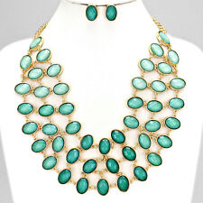 Gold and Mint Ombre Statement Necklace Set
