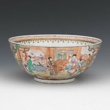 A Large Chinese Qing Dynasty Rose Mandarin Porcelain Punch Bowl .