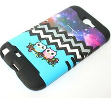 For Samsung Galaxy Note 2 -HARD&SOFT RUBBER HYBRID CASE BLUE CHEVRON ANCHOR OWLS