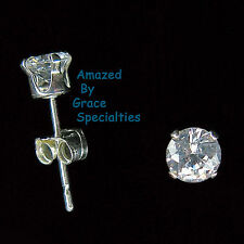 STERLING SILVER 925 Round 4mm Sparkling CLEAR Stud Post Earrings