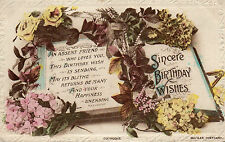Vintage Greetings Postcard 'Sincere Birthday Wishes'  1918 Open Book  (G1)