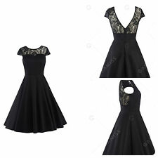 Ladies Size 18/20 Black Stretch Cotton & Lace 50s Retro Swing Dress Collection