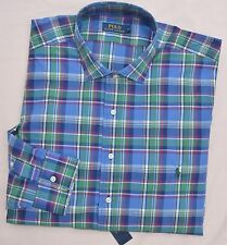 New 3XLT 3XL TALL POLO RALPH LAUREN Men button down dress shirt blue green 3XT