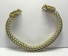 SILVER GOLD CABLE BRACELET DRAGON HEADS