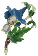 Vintage 1940s Brooch Hand Painted Morning Glory Flower Celluloid Pin