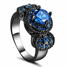 Blue Round Sapphire Claw Band Women's 10Kt Black Gold Filled Wedding Ring Size7