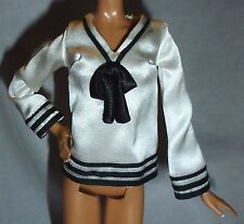 TOP ~ BARBIE DOLL MODEL MUSE BLACK & WHITE BARBRA STREISAND SAILOR BLOUSE SHIRT