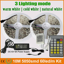 10M 5050 300LEDs Warm/Neutral/Cool White LED Strip Light+Dimmer Controller+6A PS