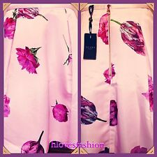 ✨��TED BAKER Oil Painting Pink Satin Tulip Floral Skirt NEW+TAGS 12 Ted 3 RARE��