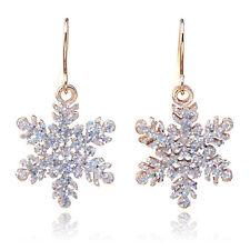 Fashion Christmas Snowflake Pendant Hook Dangle Earrings For Women Xmas Gift